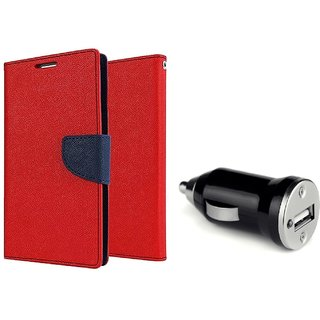 Micromax A106 Unite 2 Mercury Wallet Flip Cover Case (RED)  With CAR CHARGER ADAPTER