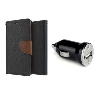 Micromax A106 Unite 2 Mercury Wallet Flip Cover Case (BROWN)  With CAR CHARGER ADAPTER