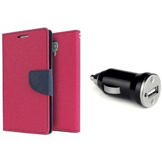 Samsung Galaxy Grand Max SM-G7200 Mercury Wallet Flip Cover Case (PINK)  With CAR CHARGER ADAPTER