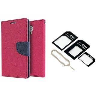 Microsoft Lumia 640 XL Mercury Wallet Flip Cover Case (PINK) With Nossy Nano Sim Adapter