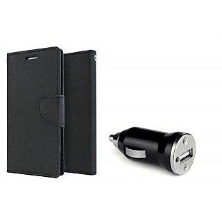 Motorola Moto E Mercury Wallet Flip Cover Case (BLACK)  With CAR CHARGER ADAPTER
