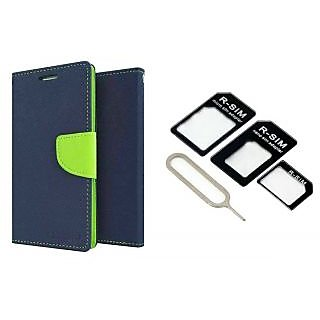 OnePlus One Mercury Wallet Flip Cover Case (BLUE) With Nossy Nano Sim Adapter