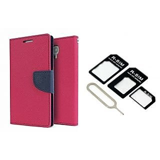 Sony Xperia C4 Mercury Wallet Flip Cover Case (PINK) With Nossy Nano Sim Adapter