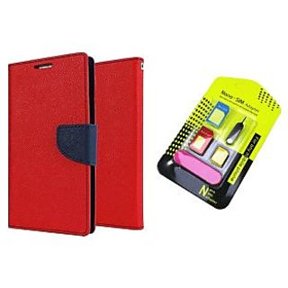 Samsung Galaxy Note 4 Mercury Wallet Flip Cover Case (RED) With Nano Sim Adapter