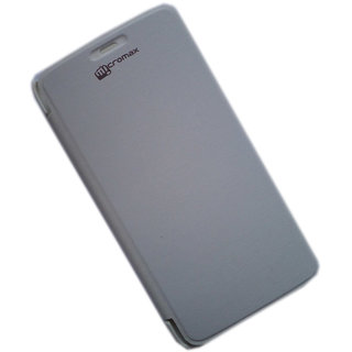 Original Flip Cover For Micromax Canvas A77/A177 in White Colour