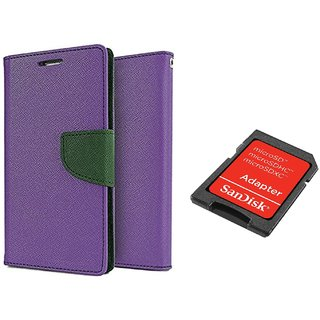 OnePlus X Mercury Wallet Flip Cover Case (PURPLE) With Sandisk SD CARD ADAPTER