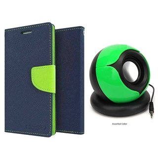 NOKIA 535  Mercury Wallet Flip Cover Case (BLUE) With Pc/mobile SPEAKER