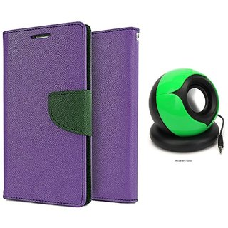 Samsung Galaxy Note 4 Mercury Wallet Flip Cover Case (PURPLE) With Pc/mobile SPEAKER