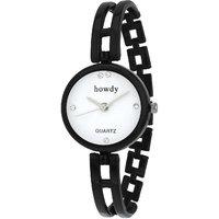 Howdy Analog White Dial Black Watch- For - Women's  Gir