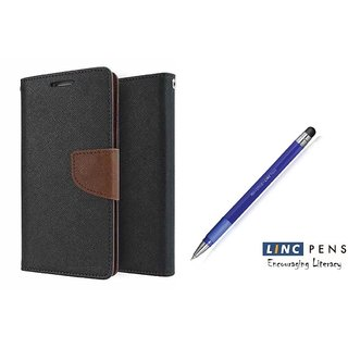 Reliance Lyf Wind 5 Mercury Wallet Flip Cover Case (BROWN)  With STYLUS PEN