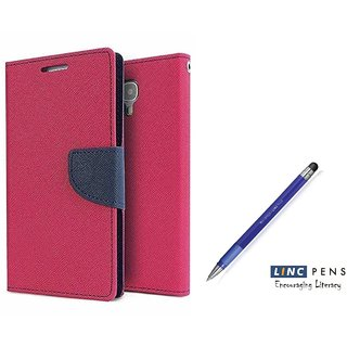 Lenovo A5000 Mercury Wallet Flip Cover Case (PINK)  With STYLUS PEN
