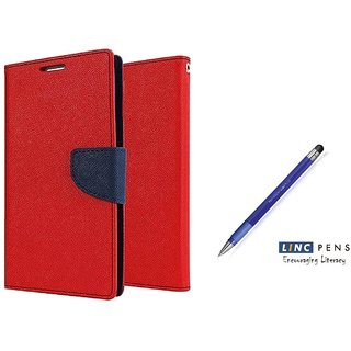 Sony Xperia C4 Mercury Wallet Flip Cover Case (RED)  With STYLUS PEN