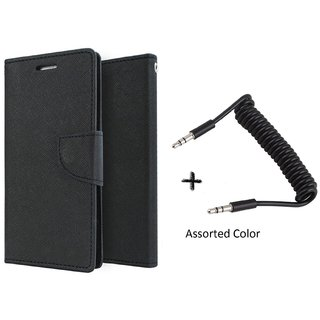 Micromax Canvas Sliver 5 Q450 Mercury Wallet Flip Cover Case (BLACK) With AUX SPRING cable