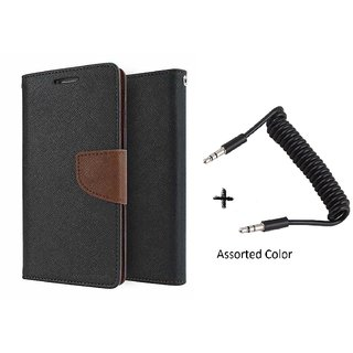 Microsoft Lumia 540 Mercury Wallet Flip Cover Case (BROWN) With AUX SPRING cable
