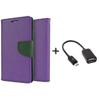 Samsung Galaxy J1 Ace Mercury Wallet Flip Cover Case (PURPLE) with otg cable