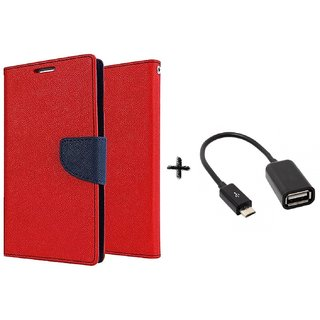 Asus ZenFone c Mercury Wallet Flip Cover Case (RED) with otg cable