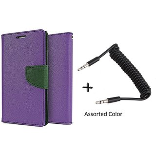 Samsung Galaxy J1 Mercury Wallet Flip Cover Case (PURPLE) With AUX SPRING cable