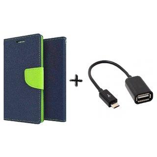 Lenovo Vibe P1M Mercury Wallet Flip Cover Case (BLUE) with otg cable