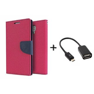 Lenovo Vibe P1m Mercury Wallet Flip Cover Case (PINK) with otg cable