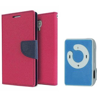 Micromax Unite 3 Q372 Mercury Wallet Flip Cover Case (PINK) With Mini MP3 Player