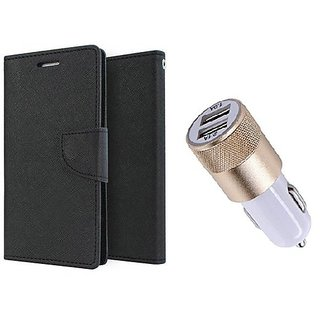 Moto X Style Mercury Wallet Flip Cover Case (BLACK) With 2 port Usb Car Charger