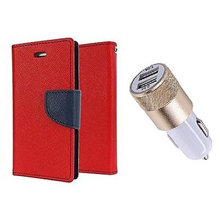 Micromax Yu Yuphoria Mercury Wallet Flip Cover Case (RED) With 2 port Usb Car Charger