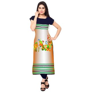 Saiveera Women's Crepe Printed Long Kurti