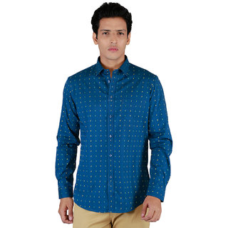 INTEGRITI Full Sleeve Printed Blue Men's Shirt