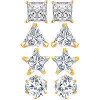Jewels Galaxy Precious Collection Of Fancy American Diamond Earrings - Combo Of 4