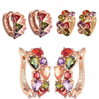 Jewels Galaxy Precious Collection Of Fancy Fashion Earrings - Combo Of 3
