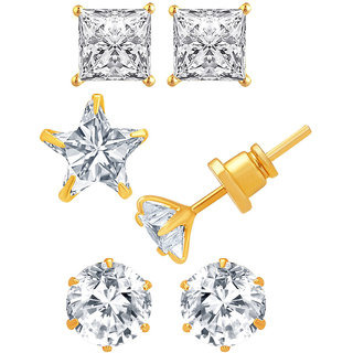 Jewels Galaxy Exclusive Collection Of Fancy American Diamond Earrings - Combo Of 3