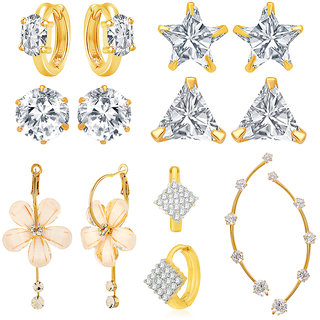 Jewels Galaxy Bestselling Combos Of Fancy American Diamond Earrings, 1 Fashion Earring And 1 Earcuff - Combo Of 7