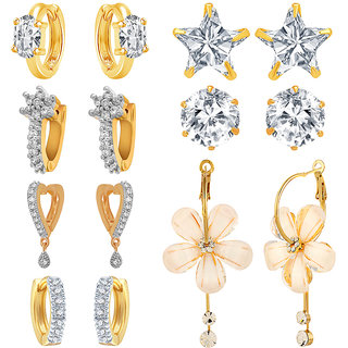 Jewels Galaxy Non Plated White Alloy Dangle Earrings for Women-Combo Of 7