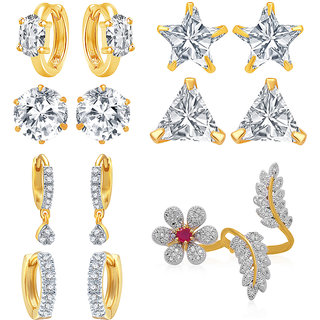 Jewels Galaxy White American Diamond (Combo Of 9) Stud Earrings For Women