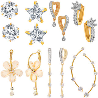 Jewels Galaxy All IN ONE Collection Combos Of Fancy American Diamond Earrings, 1 Fashion Earring And 1 Earcuff- Combo Of 7