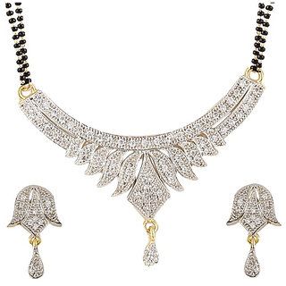 YouBella American Diamond Gold Plated Mangalsutra with Chain for Women-YBMS10007C