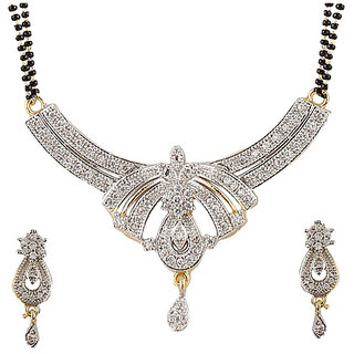 YouBella American Diamond Gold Plated Mangalsutra with Chain for Women-YBMS10011C