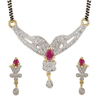YouBella American Diamond Gold Plated Mangalsutra with Chain for Women-YBMS10020C