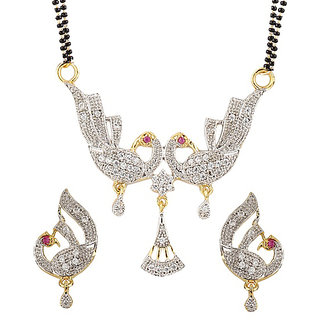 Bhagya Lakshmi American Diamond Gold Plated Mangalsutra with Chain for Women