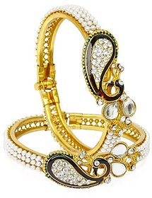 Bhagya Lakshmi Dancing Peacock American Diamond Gold Plated Bangles For Women