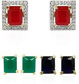 Bhagya Lakshmi  Rectangle Shaped Multi-Color Interchangeable Earrings for Girls and Women-6 IN 1 rectangleA