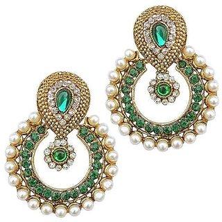 Youbella Designer Green Traditional Pearl Earrings