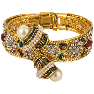 YouBella Multi-color Antique style Gold Plated Kada bangle For Women-YBBN9201A