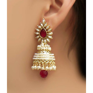 YouBella Stylish and Trendy Gold Plated Pearl Jhumki Earrings-YBEAR30015A