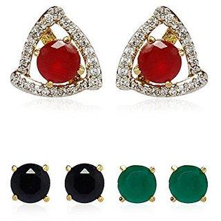 YouBella American Diamond Interchangeable Stud Earrings For Girls/Women-6 in 1 Triangle