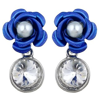 YouBella Crsytal Jewellery Rose Shaped Earrings for Girls and Women-YBEAR31097