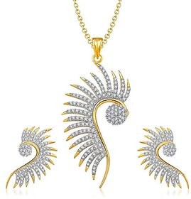YouBella American Diamond Gold Plated Necklace Set / Pendant Set with Chain and Earrings for Girls and Women.