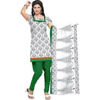 Khushali Presents Crepe Dress Material(White,Black,Green)