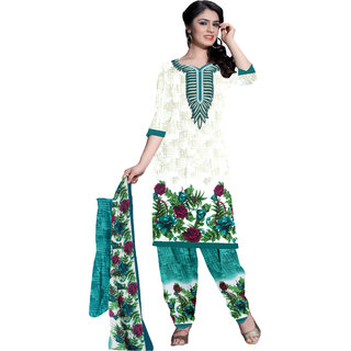 Khushali Presents Printed Crepe Dress Material(Cream,Multi,Turquoise)