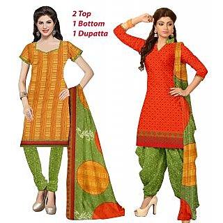 Khushali Presents 2 Top 1 Bottom 1 Dupatta Dress Material(Yellow,Orange,Red)
